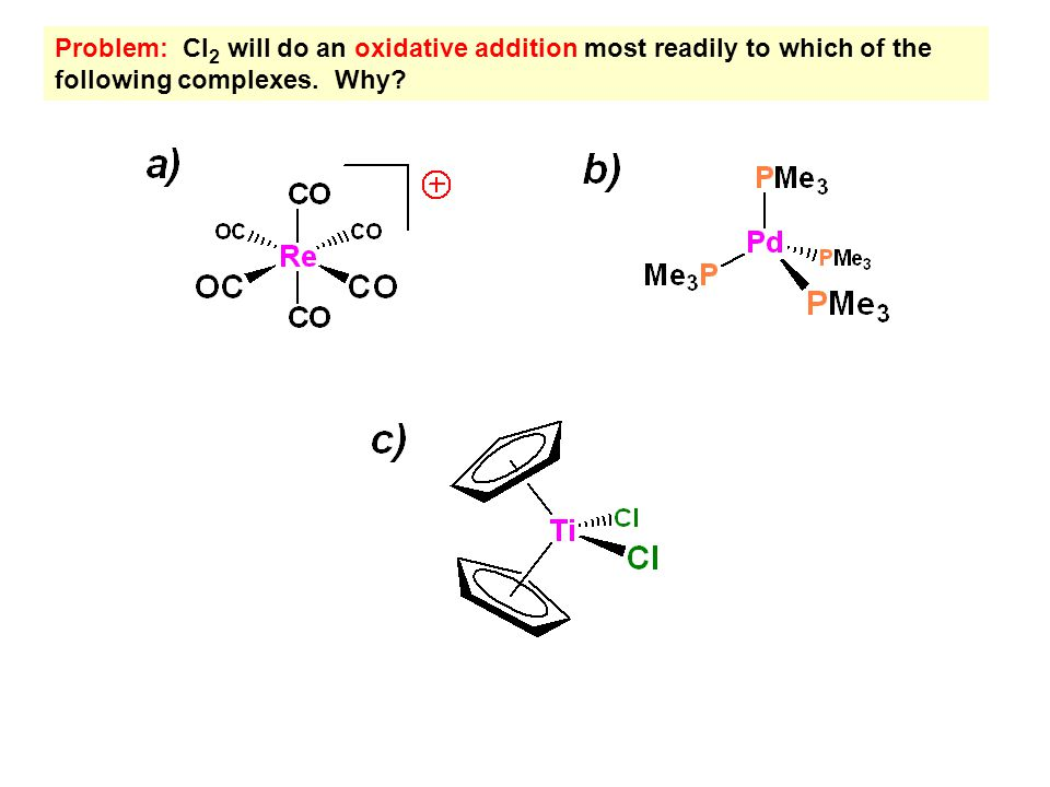 Problem: Which of the two bimetallic complexes shown below will be most likely to do a reductive elimination of H 2 .
