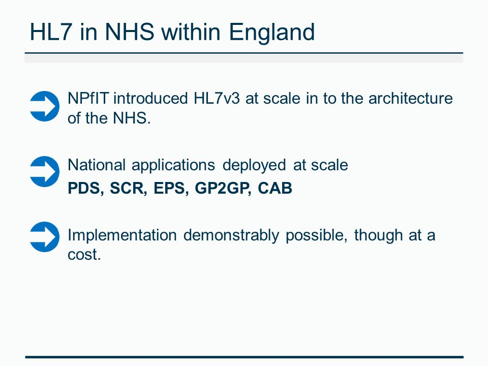HL7 in NHS within England NPfIT introduced HL7v3 at scale in to the architecture of the NHS.