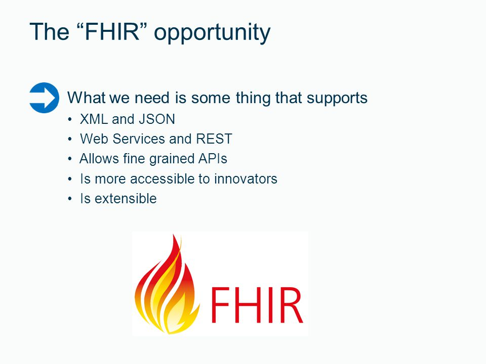 The FHIR opportunity What we need is some thing that supports XML and JSON Web Services and REST Allows fine grained APIs Is more accessible to innovators Is extensible
