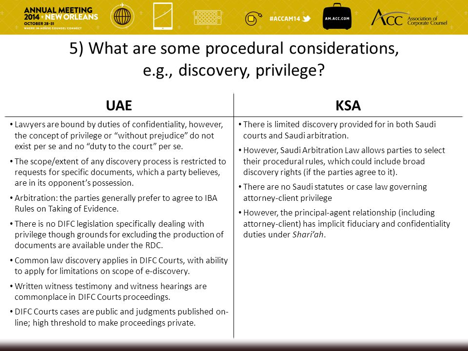 5) What are some procedural considerations, e.g., discovery, privilege? UAEKSA Lawyers are bound by duties of confidentiality, however, the concept of