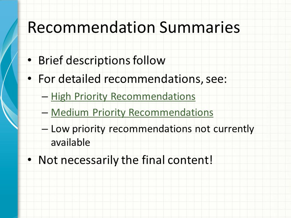 Additional Recommendations Add a 678 when it would be useful to convey to the end user complex information that cannot be clearly conveyed by other parts of the authority record – Follow DCM Z1