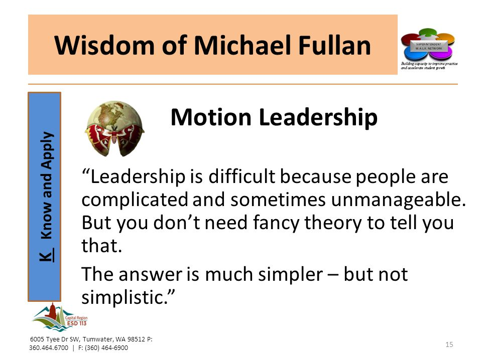 K Know and Apply Wisdom of Michael Fullan Motion Leadership Leadership is difficult because people are complicated and sometimes unmanageable.