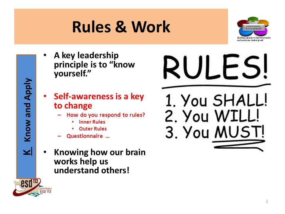 K Know and Apply Rules & Work A key leadership principle is to know yourself. Self-awareness is a key to change – How do you respond to rules.