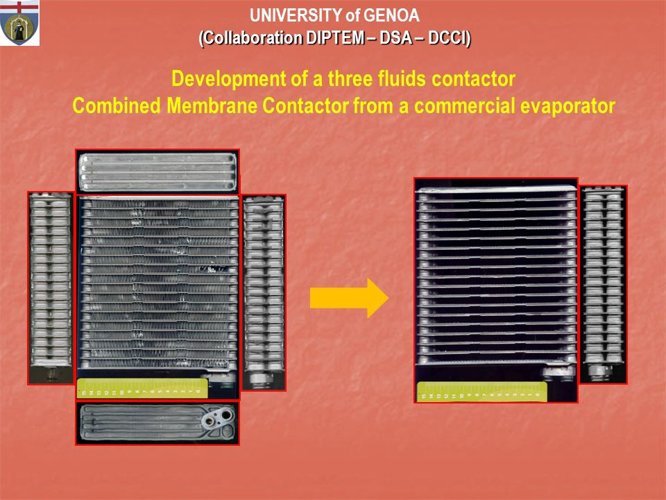 Development of a three fluids contactor Combined Membrane Contactor from a commercial evaporator UNIVERSITY of GENOA (Collaboration DIPTEM – DSA – DCCI)