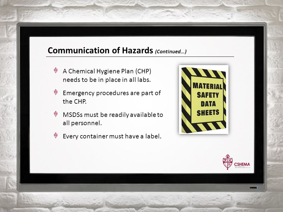 Communication of Hazards (Continued…) A Chemical Hygiene Plan (CHP) needs to be in place in all labs. Emergency procedures are part of the CHP. MSDSs