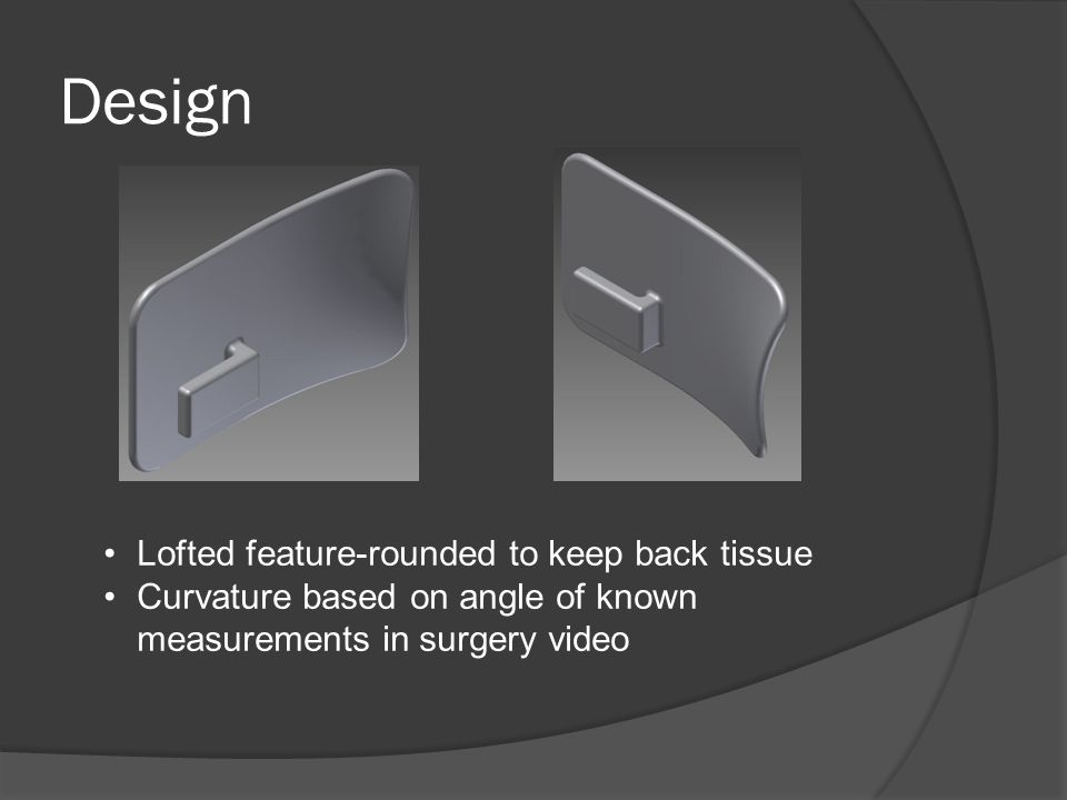 Design Lofted feature-rounded to keep back tissue Curvature based on angle of known measurements in surgery video