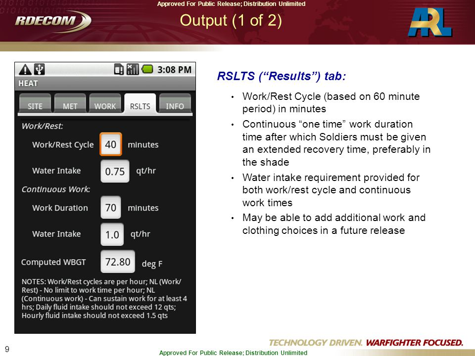 "9 Approved For Public Release; Distribution Unlimited Output (1 of 2) RSLTS (""Results"") tab: Work/Rest Cycle (based on 60 minute period) in minutes Co"