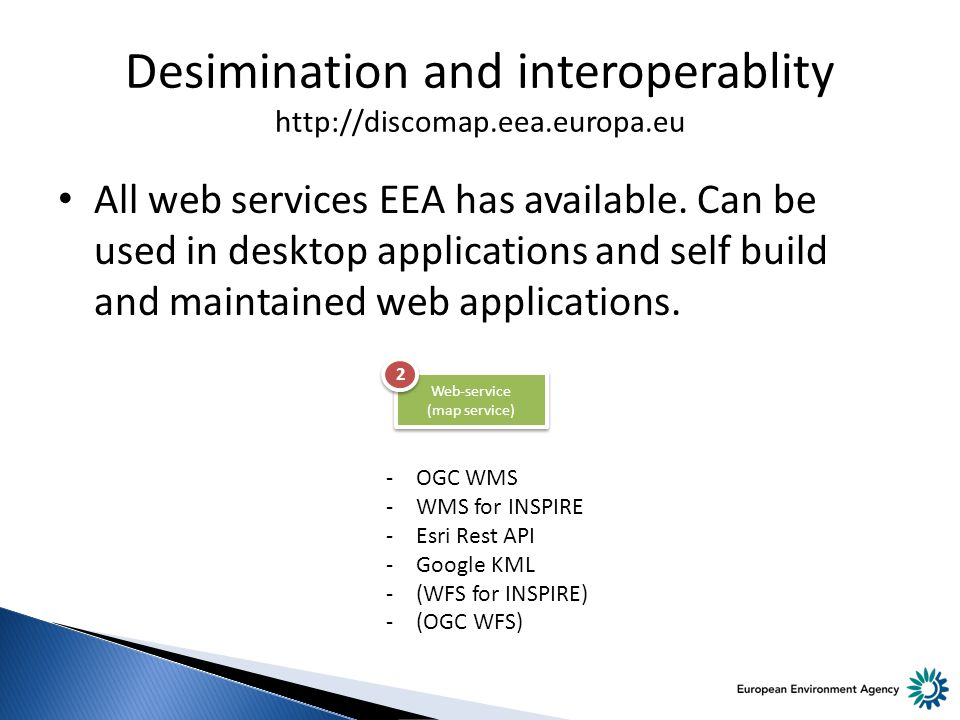 Desimination and interoperablity http://discomap.eea.europa.eu All web services EEA has available.