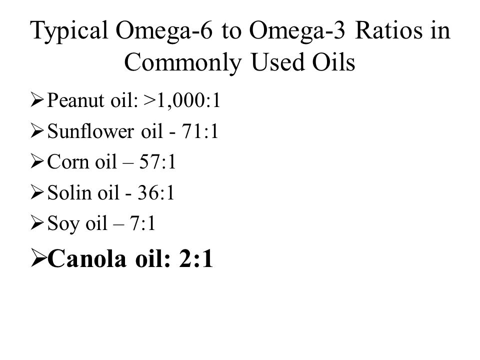 Typical Omega-6 to Omega-3 Ratios in Commonly Used Oils  Peanut oil: >1,000:1  Sunflower oil - 71:1  Corn oil – 57:1  Solin oil - 36:1  Soy oil – 7:1  Canola oil: 2:1
