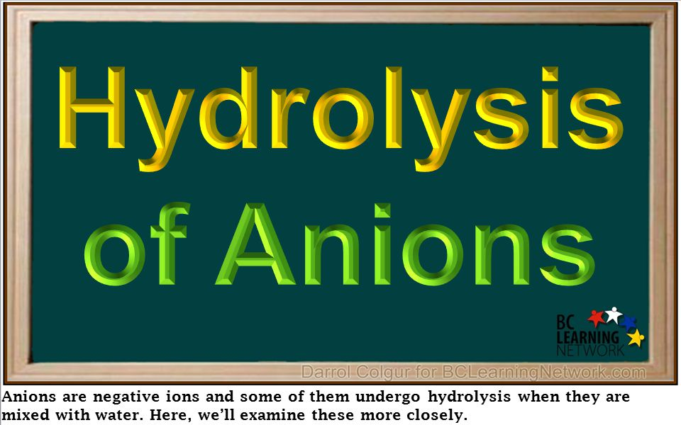 Anions are negative ions and some of them undergo hydrolysis when they are mixed with water. Here, we'll examine these more closely.