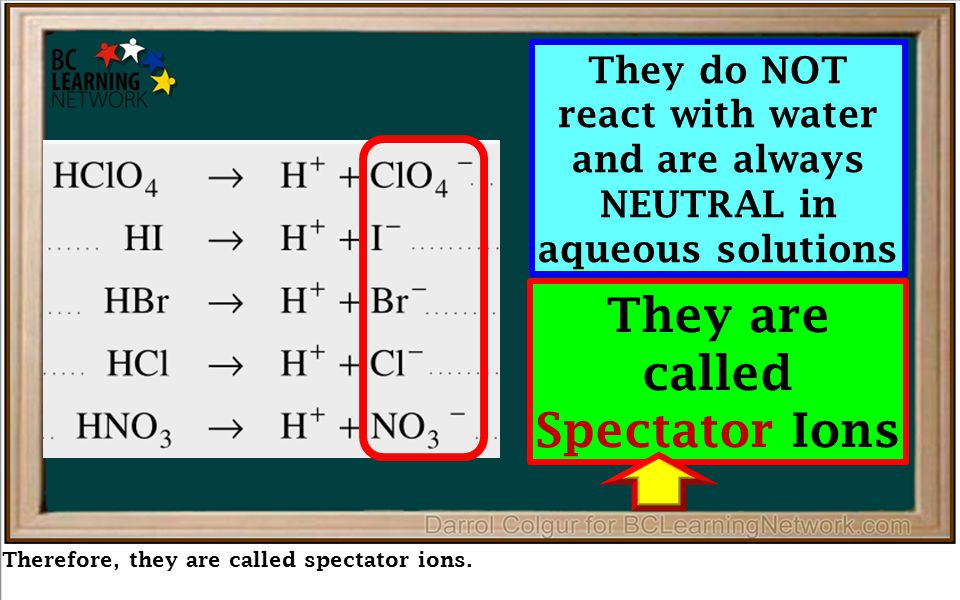 Therefore, they are called spectator ions. They do NOT react with water and are always NEUTRAL in aqueous solutions They are called Spectator Ions