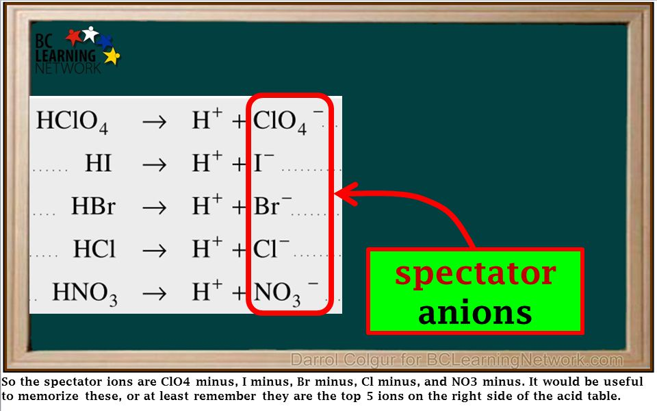 So the spectator ions are ClO4 minus, I minus, Br minus, Cl minus, and NO3 minus. It would be useful to memorize these, or at least remember they are