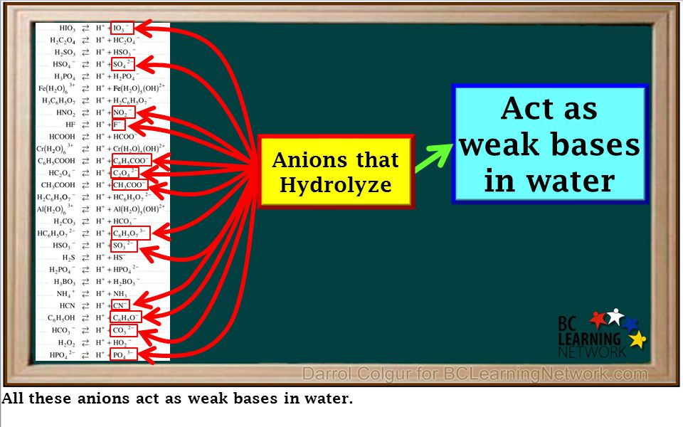 All these anions act as weak bases in water. Act as weak bases in water Anions that Hydrolyze