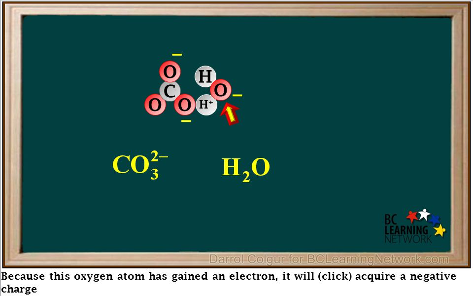 H+H+ Because this oxygen atom has gained an electron, it will (click) acquire a negative charge – O C O O – H O –