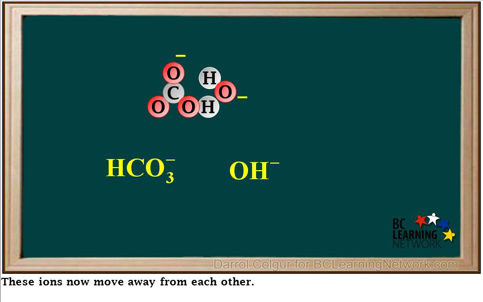 These ions now move away from each other. HO C O – O H O –