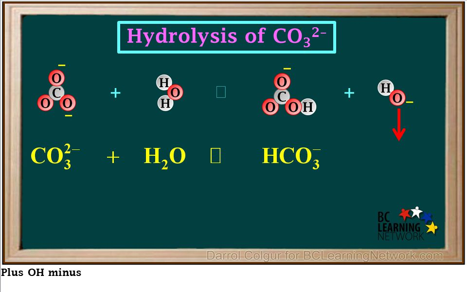 Plus OH minus ++  Hydrolysis of CO 3 2–