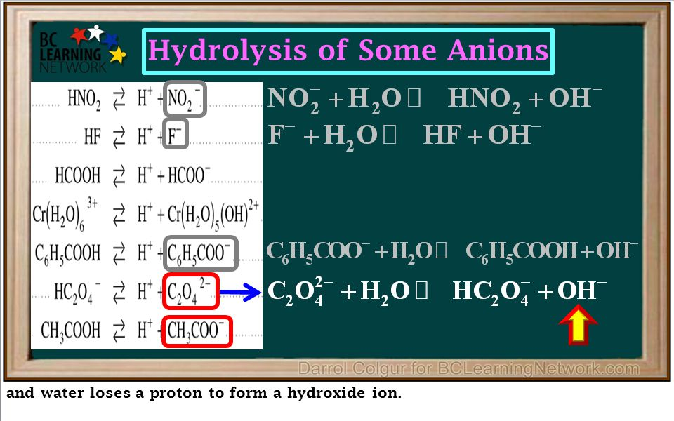 and water loses a proton to form a hydroxide ion. Hydrolysis of Some Anions