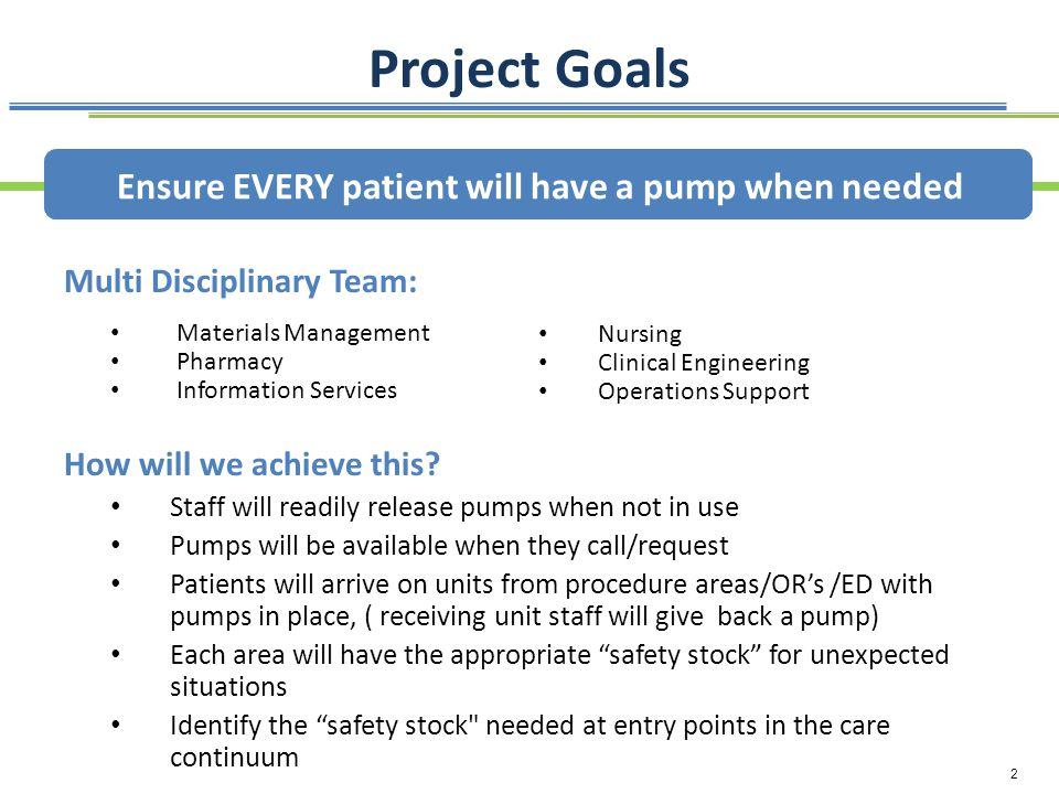 2 Project Goals How will we achieve this? Staff will readily release pumps when not in use Pumps will be available when they call/request Patients wil