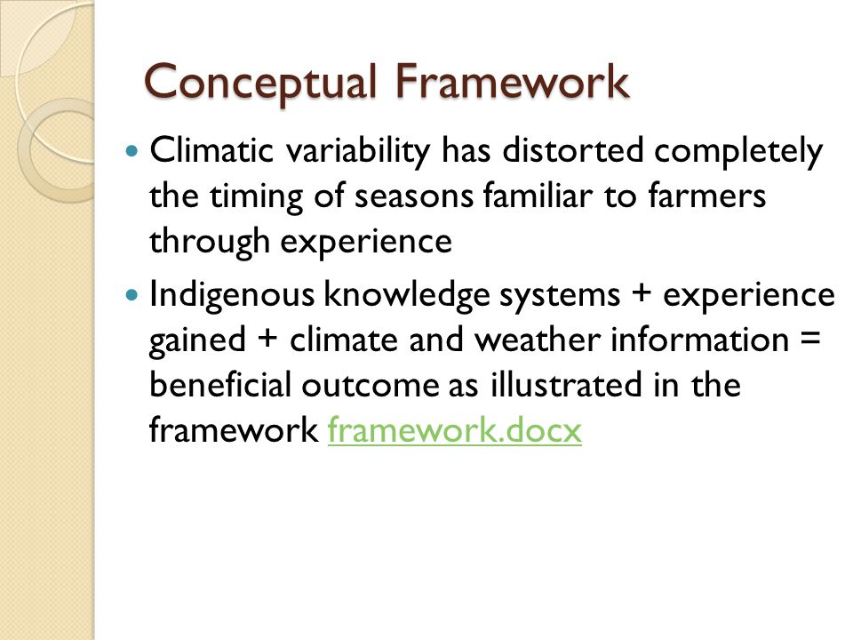 Conceptual Framework Climatic variability has distorted completely the timing of seasons familiar to farmers through experience Indigenous knowledge s