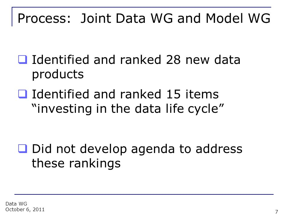 Process: Joint Data WG and Model WG  Identified and ranked 28 new data products  Identified and ranked 15 items investing in the data life cycle  Did not develop agenda to address these rankings 7 Data WG October 6, 2011