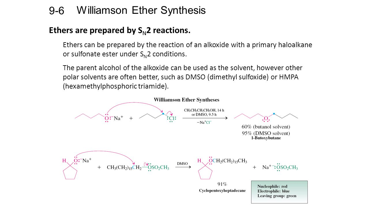 Williamson Ether Synthesis 9-6 Ethers are prepared by S N 2 reactions.