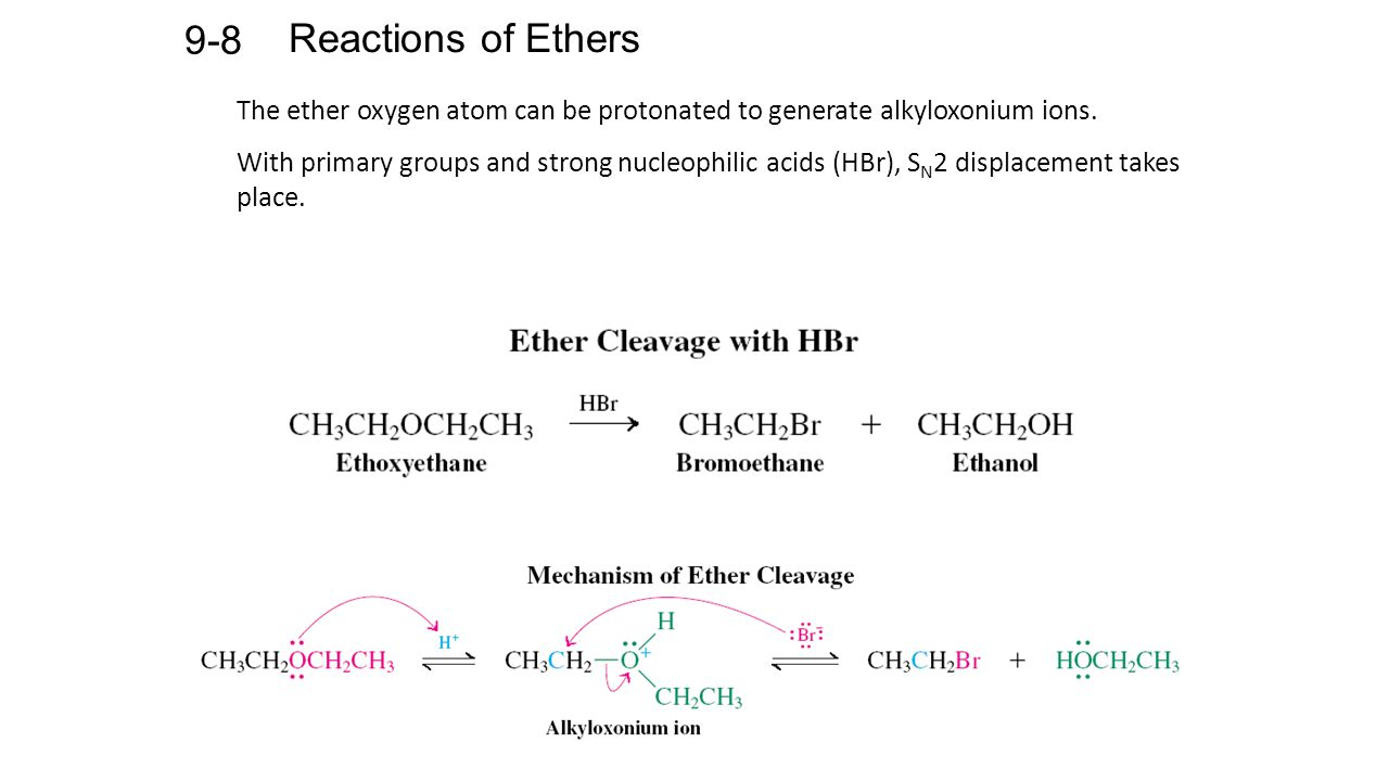 Reactions of Ethers 9-8 The ether oxygen atom can be protonated to generate alkyloxonium ions.