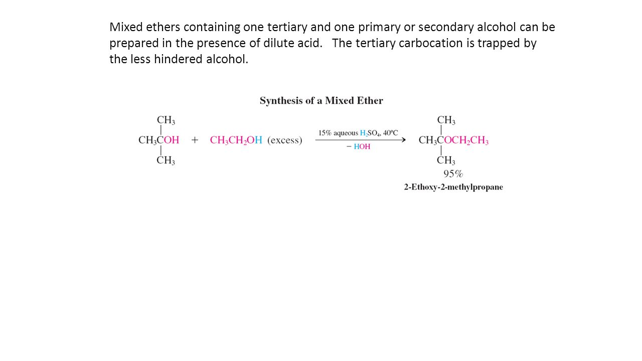 Mixed ethers containing one tertiary and one primary or secondary alcohol can be prepared in the presence of dilute acid.