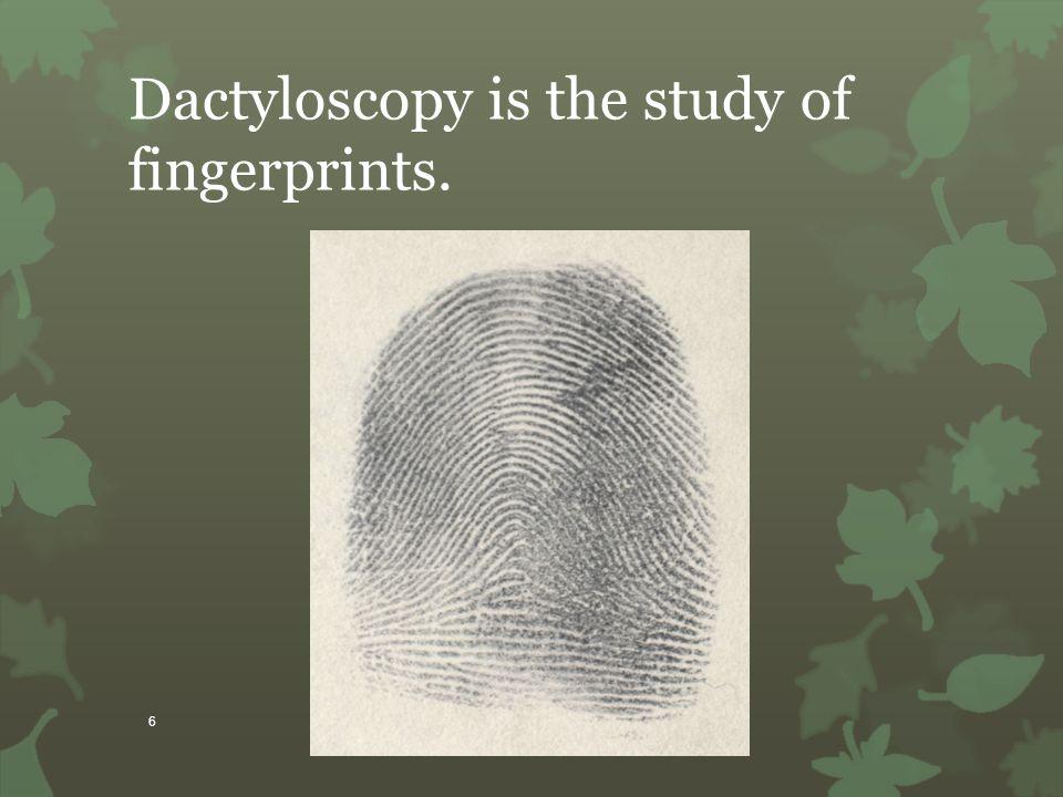 6 Dactyloscopy is the study of fingerprints.