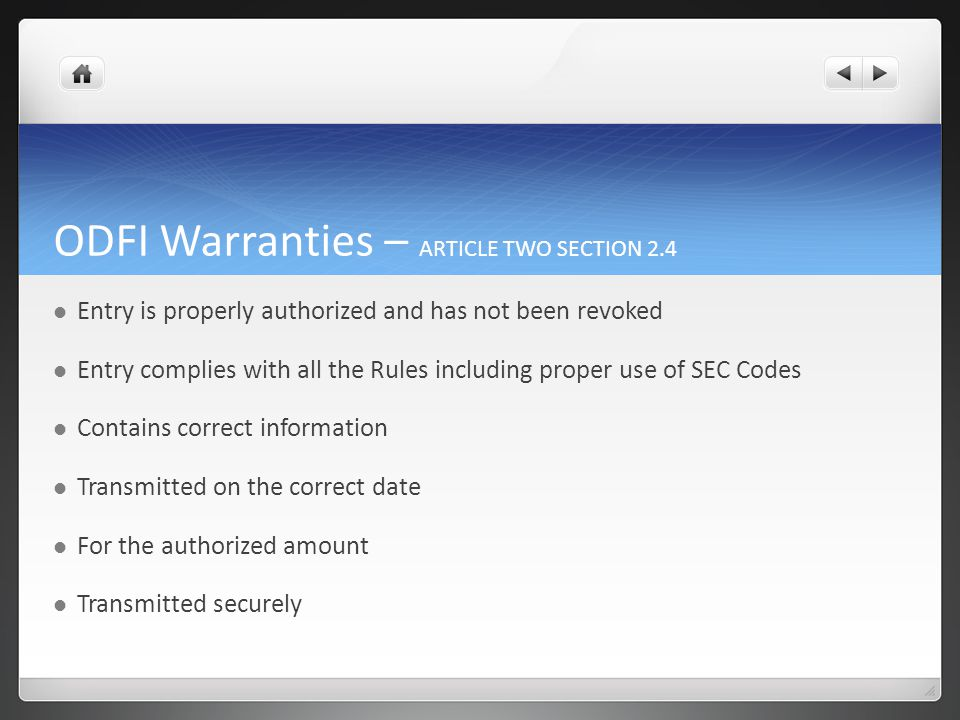 ODFI Indemnity for Breach of Warranty Indemnifies all RDFIs from and against any and all claims, demands, losses, liabilities, and expenses including attorney fees and costs as the result of directly or indirectly from breach of warranty.