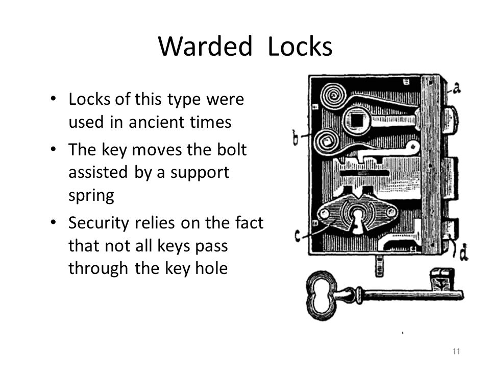 Warded Locks Locks of this type were used in ancient times The key moves the bolt assisted by a support spring Security relies on the fact that not all keys pass through the key hole 11