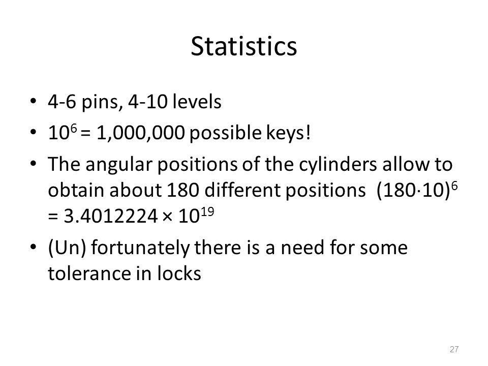 Statistics 4-6 pins, 4-10 levels 10 6 = 1,000,000 possible keys.