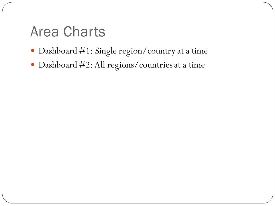 Area Charts Dashboard #1: Single region/country at a time Dashboard #2: All regions/countries at a time