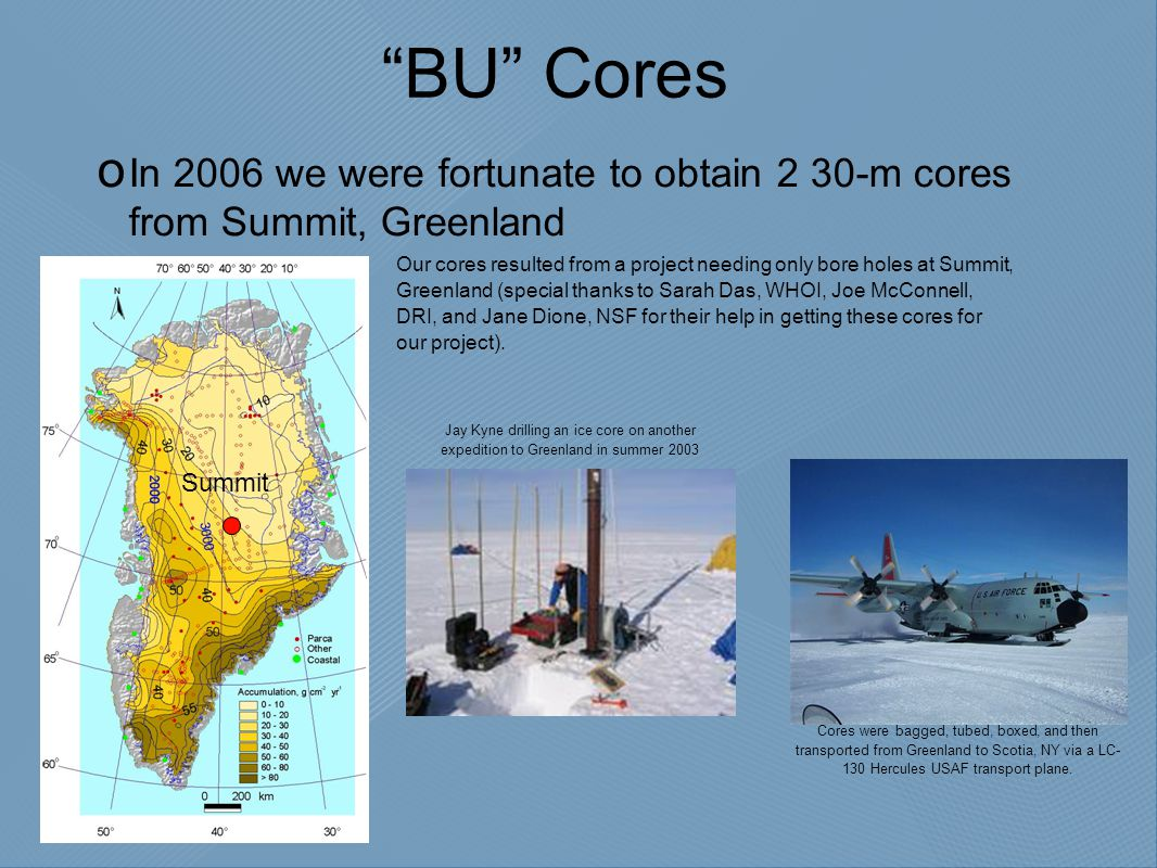 """BU"" Cores  In 2006 we were fortunate to obtain 2 30-m cores from Summit, Greenland Our cores resulted from a project needing only bore holes at Summ"
