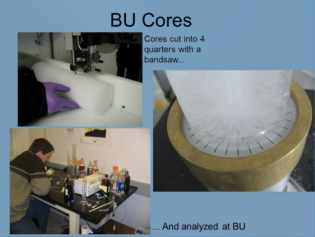 BU Cores Cores cut into 4 quarters with a bandsaw...... And analyzed at BU