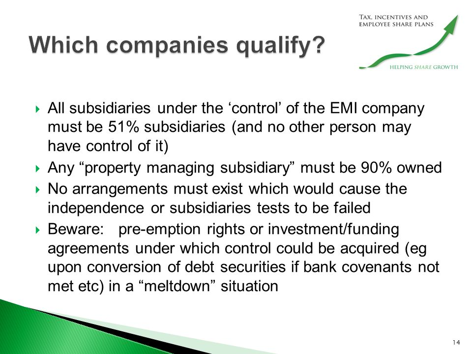  All subsidiaries under the 'control' of the EMI company must be 51% subsidiaries (and no other person may have control of it)  Any property managing subsidiary must be 90% owned  No arrangements must exist which would cause the independence or subsidiaries tests to be failed  Beware: pre-emption rights or investment/funding agreements under which control could be acquired (eg upon conversion of debt securities if bank covenants not met etc) in a meltdown situation 14