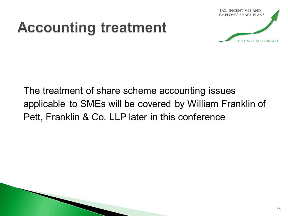 The treatment of share scheme accounting issues applicable to SMEs will be covered by William Franklin of Pett, Franklin & Co.