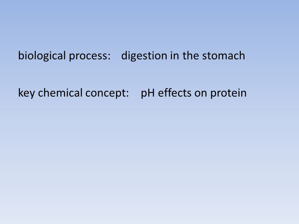 biological process:digestion in the stomach key chemical concept:pH effects on protein