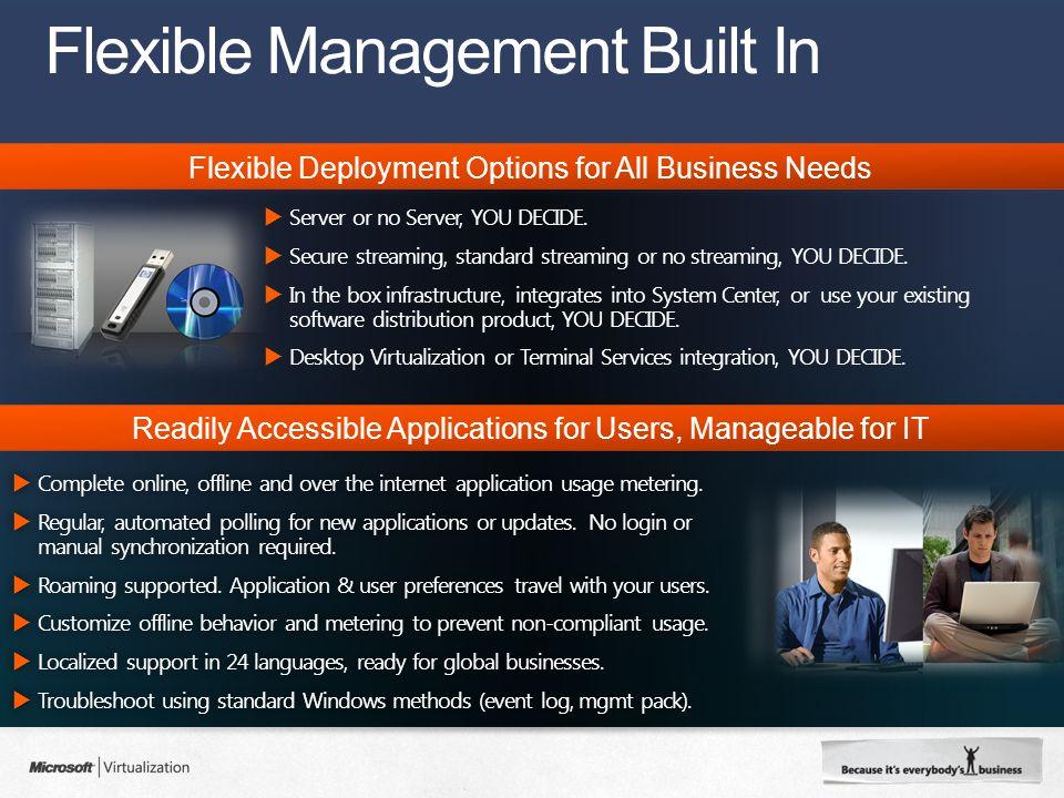 Flexible Management Built In  Server or no Server, YOU DECIDE.
