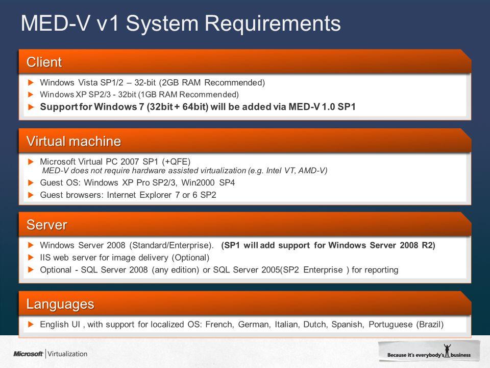 MED-V v1 System Requirements