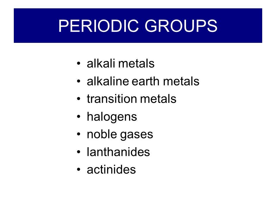 Transition metals alkali metals alkaline earth metals halogens noble gases lanthanides actinides