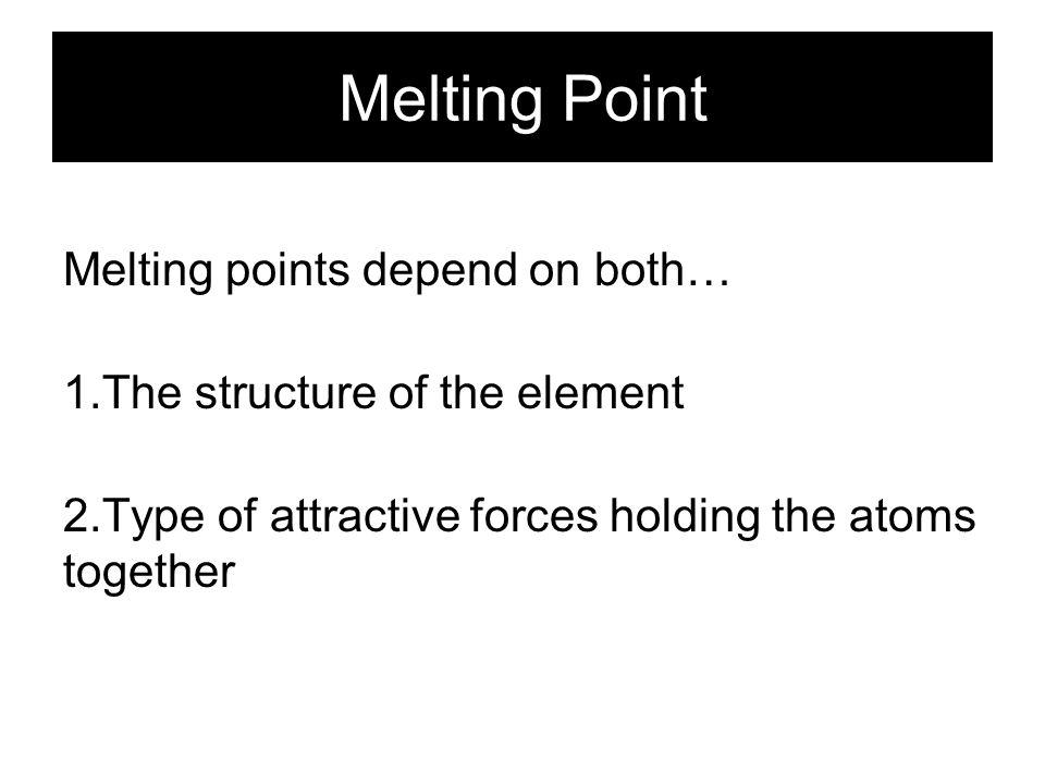 Melting Point H He Li Be B C NOF Ne Na Mg Al Si PS Cl Ar K Ca