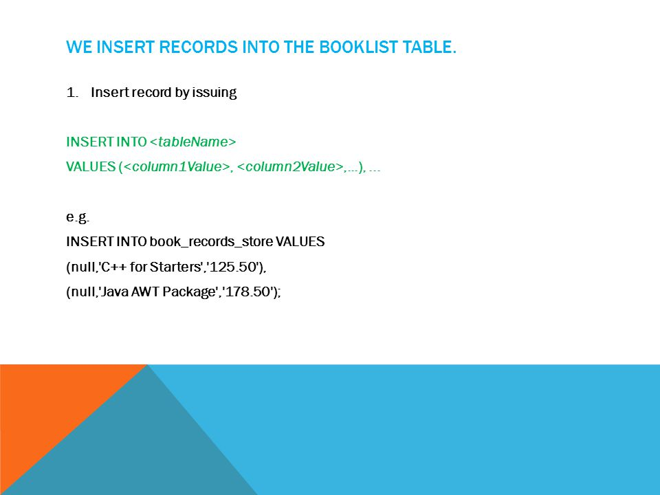 WE INSERT RECORDS INTO THE BOOKLIST TABLE.