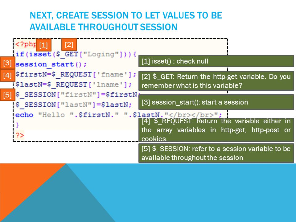 NEXT, CREATE SESSION TO LET VALUES TO BE AVAILABLE THROUGHOUT SESSION [2] $_GET: Return the http-get variable.