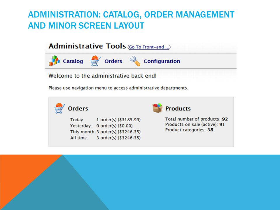 ADMINISTRATION: CATALOG, ORDER MANAGEMENT AND MINOR SCREEN LAYOUT