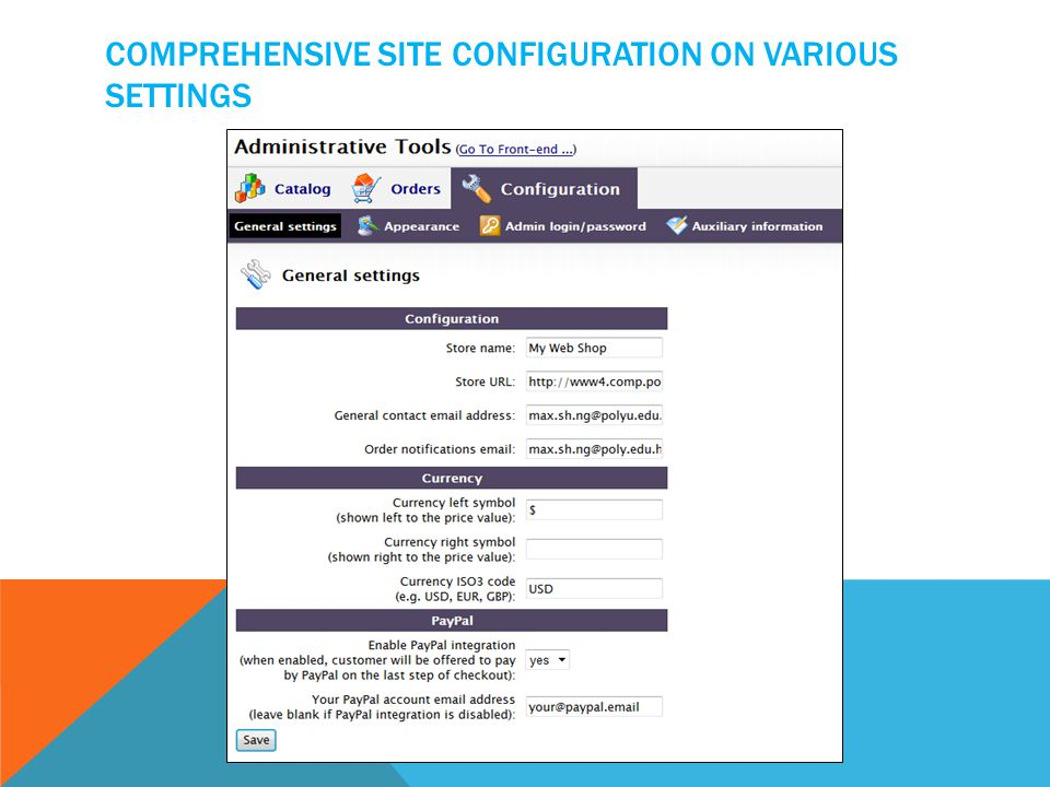 COMPREHENSIVE SITE CONFIGURATION ON VARIOUS SETTINGS