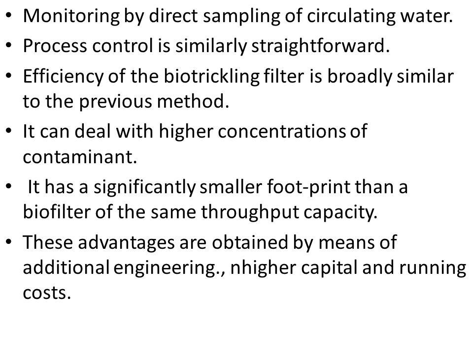 Monitoring by direct sampling of circulating water. Process control is similarly straightforward. Efficiency of the biotrickling filter is broadly sim