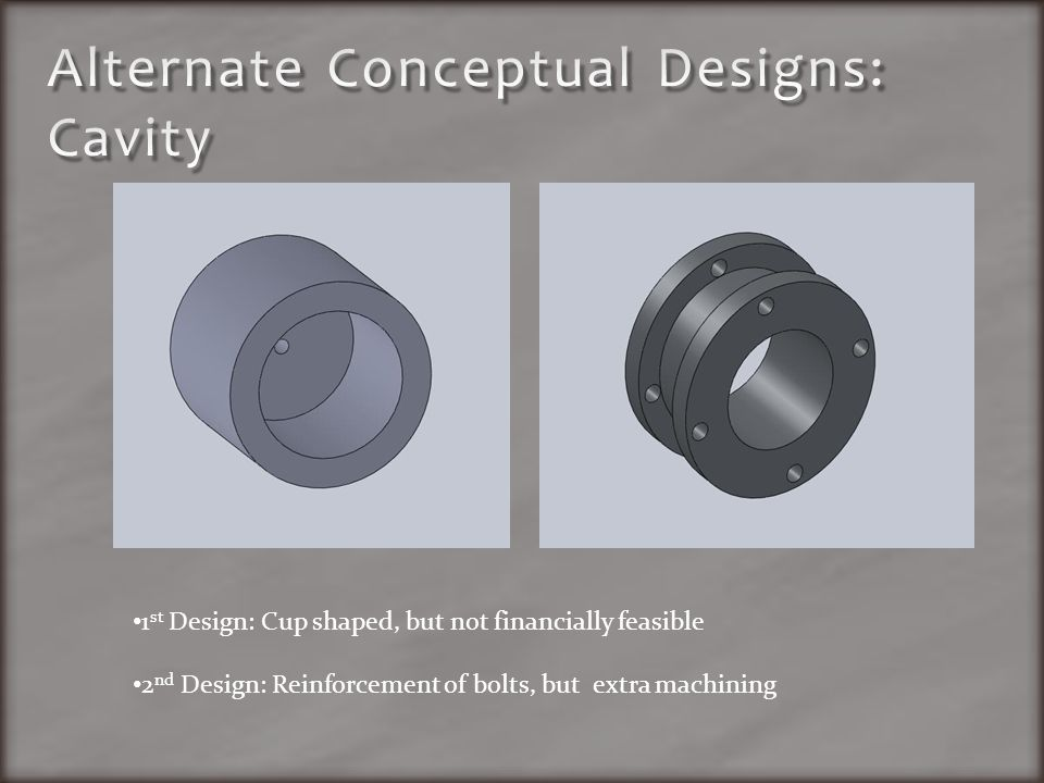 1 st Design: Cup shaped, but not financially feasible 2 nd Design: Reinforcement of bolts, but extra machining