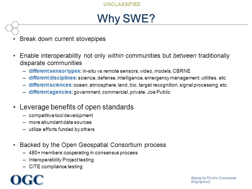 Helping the World to Communicate Geographically UNCLASSIFIED Why SWE? Break down current stovepipes Enable interoperability not only within communitie