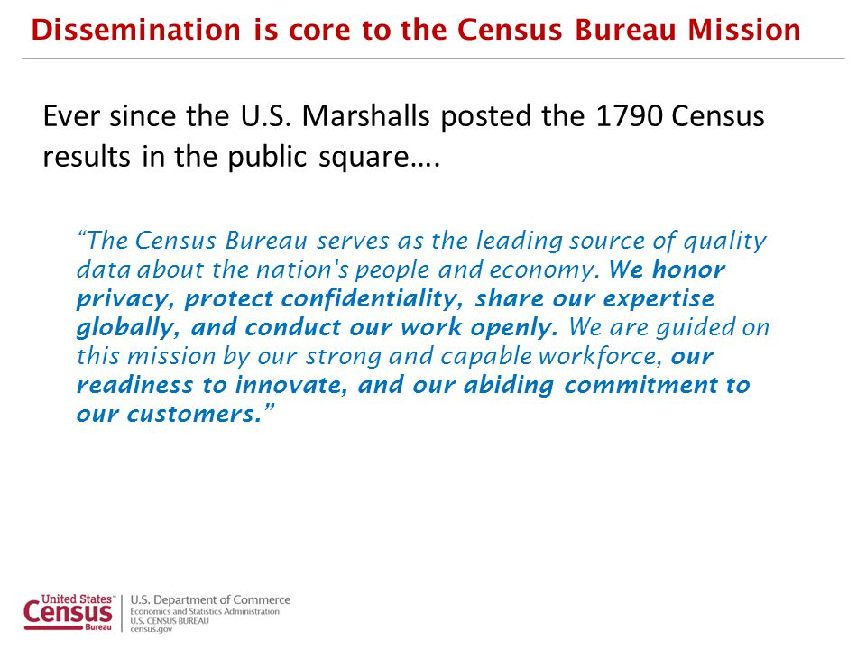 Data Dissemination Capabilities Team PROJECT TITLE Data Dissemination Capabilities and Road Map: 2013 PROJECT DESCRIPTION Assess and recommend capabilities that the Census Bureau needs to acquire and maintain to disseminate its vast data collection to its broad range of external users.