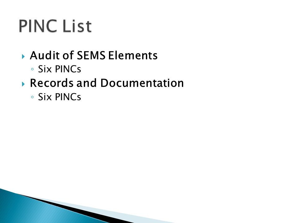  Audit of SEMS Elements ◦ Six PINCs  Records and Documentation ◦ Six PINCs